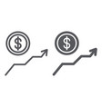 dollar growth line and glyph icon financial and vector image vector image