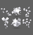 falling paper sheets flying papers pages white vector image vector image