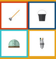 flat icon garden set of tool hothouse pail and vector image vector image