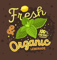 fresh and organic homemade lemonade design with a vector image vector image