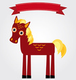 Funny brown horse on a white background Vintage vector image