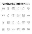 furniture and interior icon set vector image