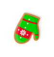 gingerbread christmas bright green mitten vector image vector image