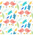 hand drawn floral and cute bird pattern background vector image