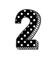 hand drawn number 2 with white polka dots on black vector image vector image