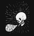 hand drawn vintage tattoo skull with love quote in vector image