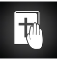 Hand on Bible icon vector image vector image