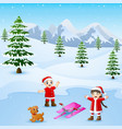 happy kid playing with ski and dog in the winter vector image vector image