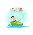 have fun poster with boy riding on donut amusement vector image vector image