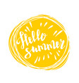 hello summer time sun eco bio lettering text vector image