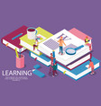 isometric concept with books for learning or vector image