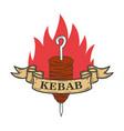 kebab emblem template fast food design element vector image vector image