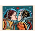 Kiss space man and woman astronauts vector image vector image