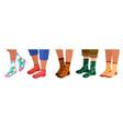 legs in socks women and men leg in trendy sock vector image vector image