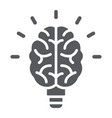 light bulb brain glyph icon school and education vector image vector image