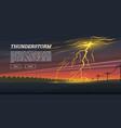 lightning strike and rain thunderstorm day vector image