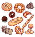 Line Bread Bakery Icon Set vector image