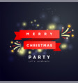 merry christmas party poster or card with red vector image