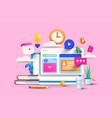 modern 3d of online education vector image