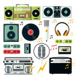 modern and retro audio devices music playing vector image