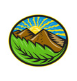 Mountains Leaf Sunburst Retro vector image vector image