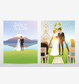 newlyweds card bride and groom wedding ceremony vector image vector image