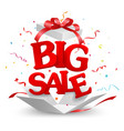 opened big sale out box with confetti vector image