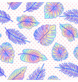 palm tree leaves seamless pattern with dots vector image vector image