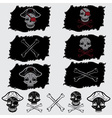 pirate skull with hat set on flags and icons vector image vector image