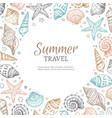 seashell background vintage summer sea shells vector image vector image