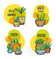 set isolated labels cactus succulent plants vector image vector image