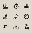 set of 9 editable fitness icons includes symbols vector image vector image