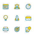 set of 9 flat line business icons startup and vector image
