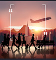 Silhouette people on airport background vector image vector image