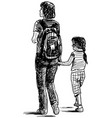 sketch young mother with his little daughter vector image
