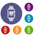smartwatch with sport app icons set vector image vector image
