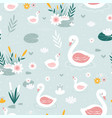 swan seamless pattern print design vector image vector image