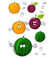 Sweet cartoon peach watermelon and plum vector image vector image