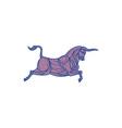 Texas Longhorn Bull Charging Mono Line vector image