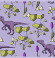 theropod dinosaur seamless pattern vector image