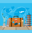 travel briefcase with international tower explore vector image vector image