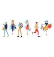 various man woman character walk urban people vector image
