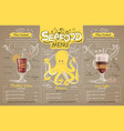 vintage seafood menu design on cardboard vector image