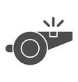 whistle solid icon referee whistle vector image vector image
