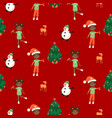 winter christmas eve and kids seamless pattern vector image