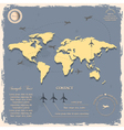 World map with aircrafts for design in vintage vector image vector image