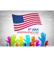 Silhouettes of People Holding the Flag of USA vector image