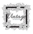 Vintage monochrome frame with leaves for design vector image