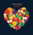 heart shape by organic fresh healthy vegetables vector image