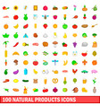 100 natural product icons set cartoon style vector image vector image